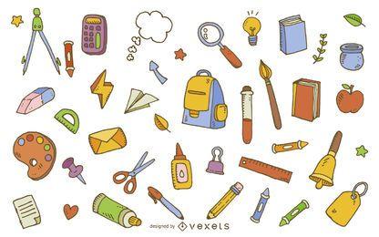 Patrón de elementos de útiles escolares