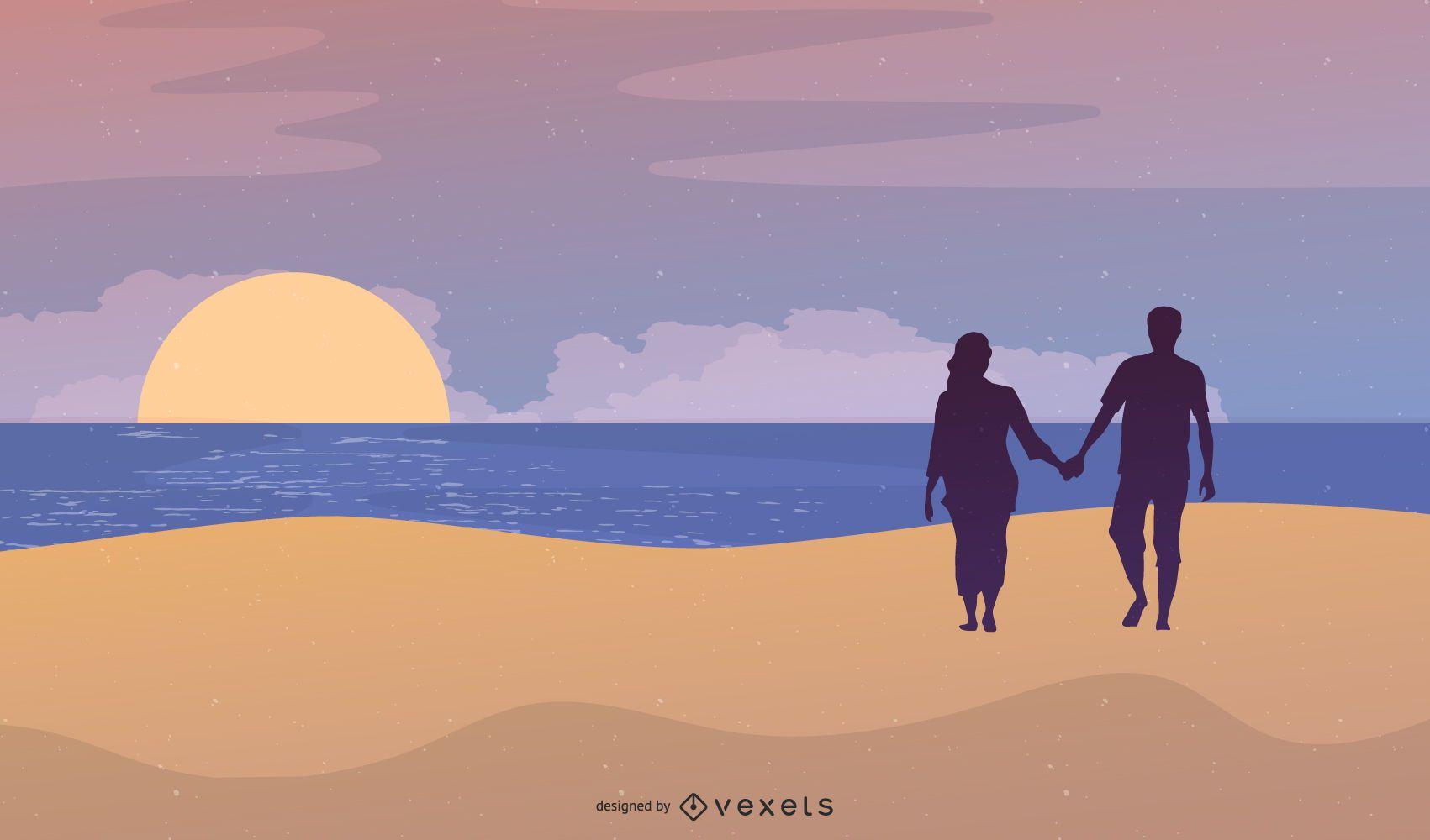 Summer Beach People Silhouette Design