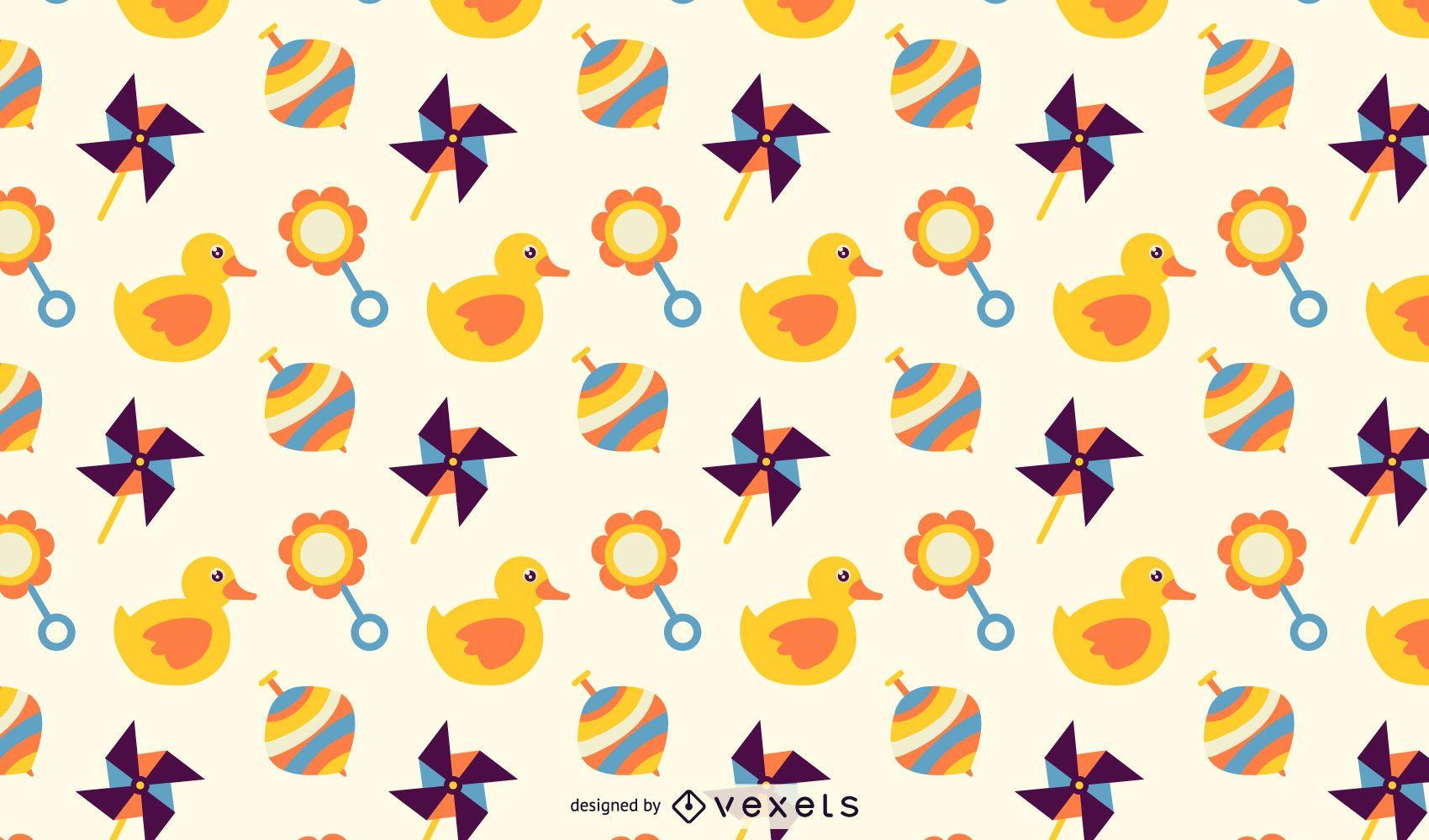 Cute Cartoon Toys Pattern Background