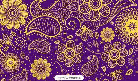 Dargestellter Paisley-Entwurf in mehrfachen Farben