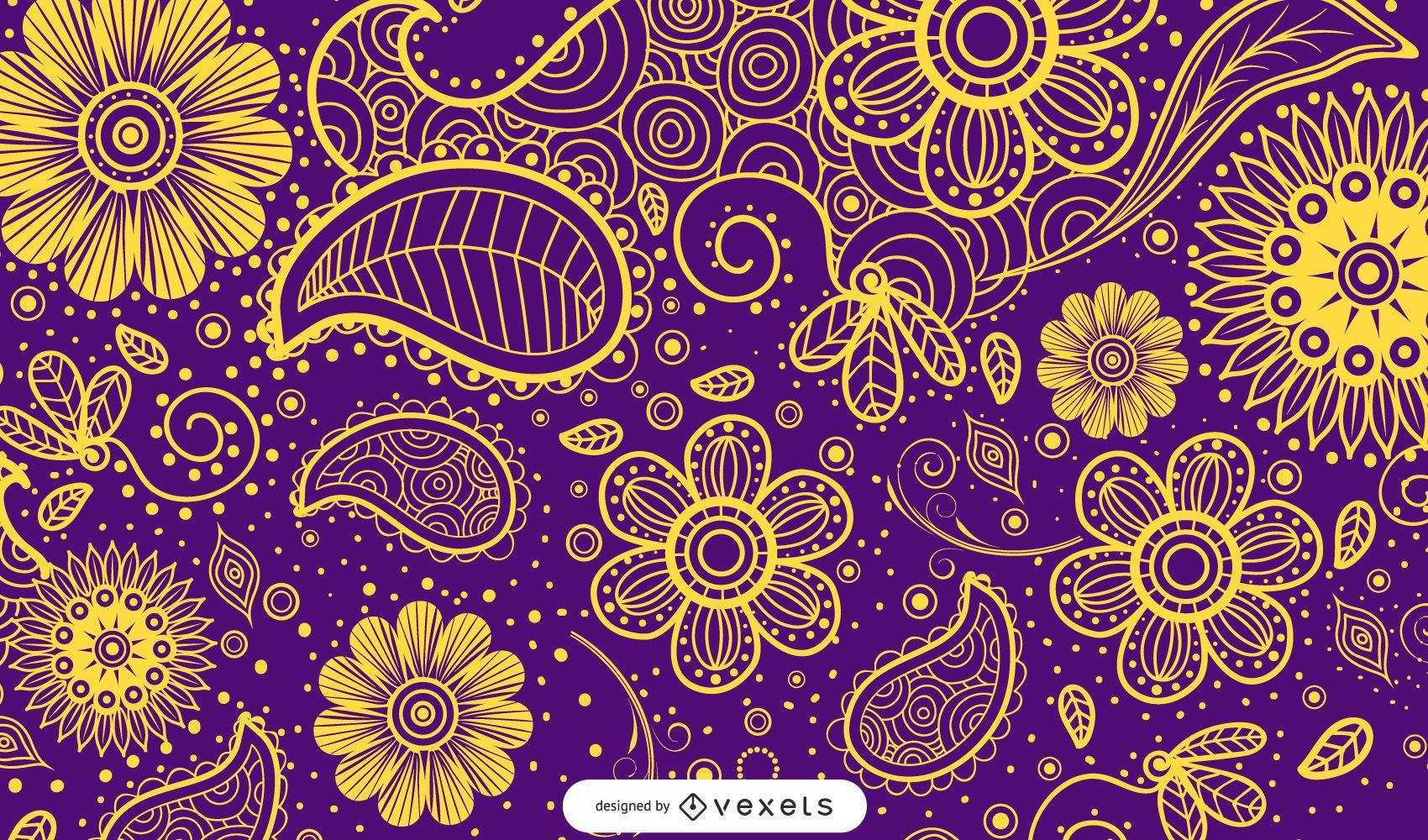 Desenho paisley ilustrado em várias cores