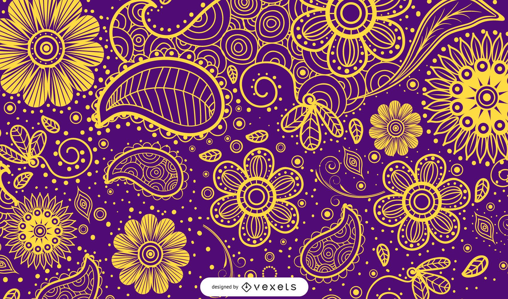 Illustrated paisley design in multiple colors