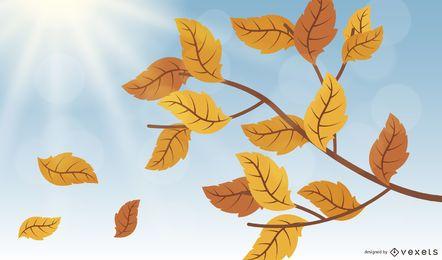 Hermosa rama de hoja de otoño