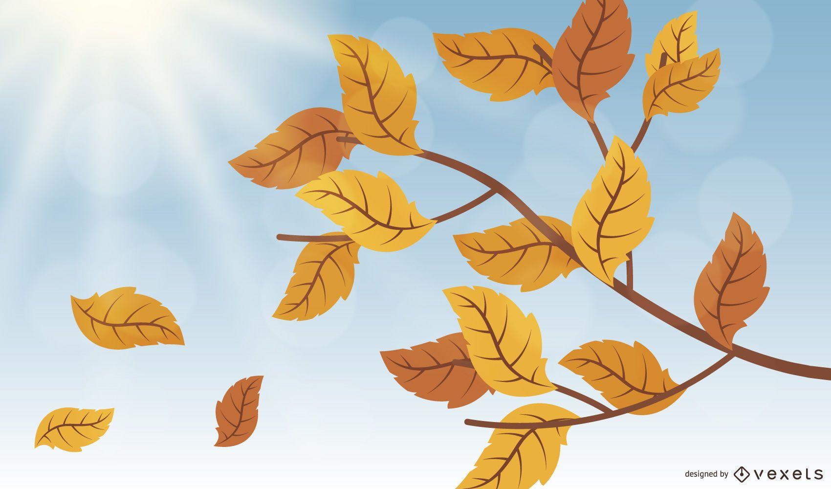 Beautiful Autumn Leaf Branch