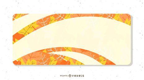Hojas ilustradas con estandarte blanco.