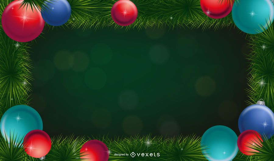 Christmas background with ornament garland