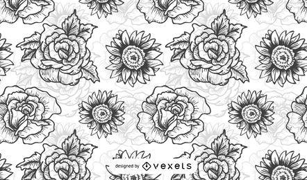 Patrón ilustrado de flores en blanco y negro