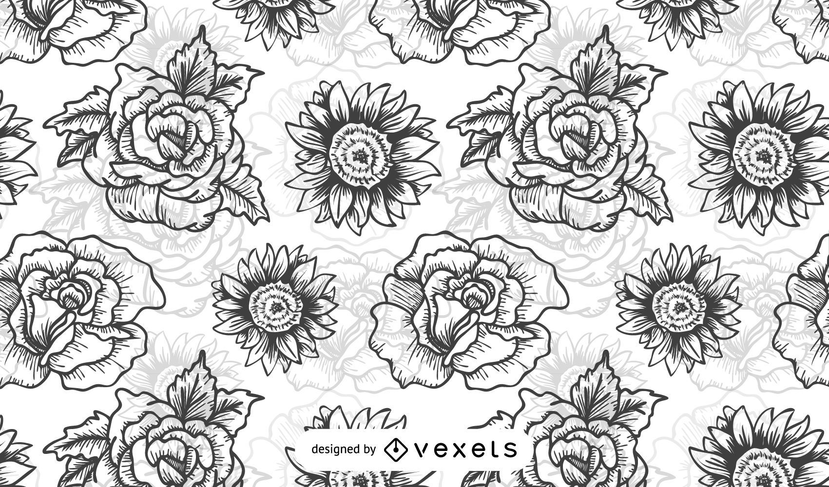 Illustrated Black and White Flowers Pattern