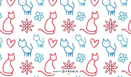 Love Cat Pattern Vector Design