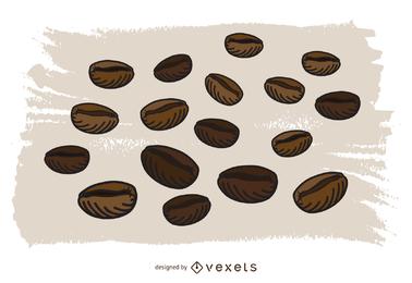 Grãos de café de vetor