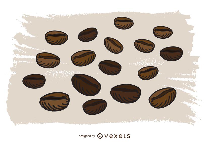 Vector de los granos de café
