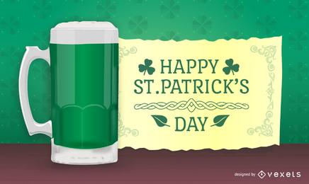 Diseño de St. Patricks con cerveza en 3D y mensaje.