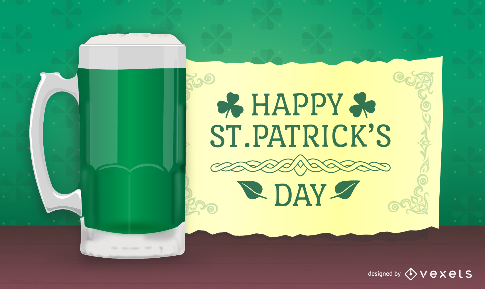 St. Patricks design with 3D beer and message