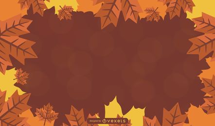 Illustrated maple leaves over blur