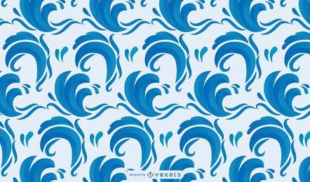 Diseño dibujado a mano de verano con pájaros y olas.