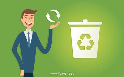 Hombre de negocios ilustrado de reciclaje