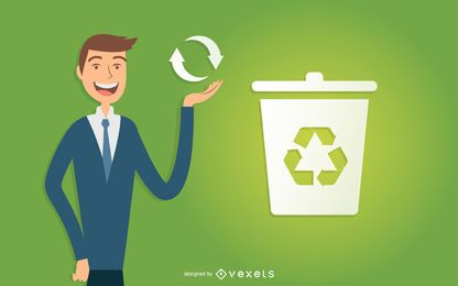 Illustrated business man recycling