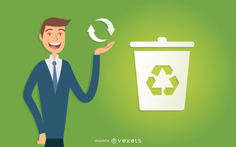 Homem de negócios ilustrado reciclando