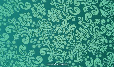 Floral Flourish Green Background