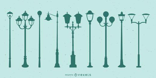 Conjunto de silueta de luces de calle