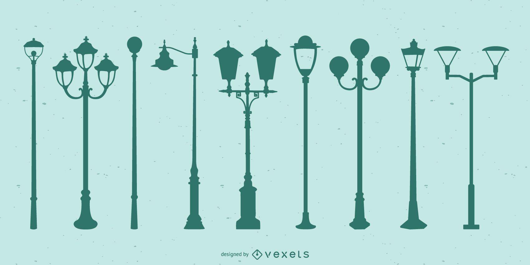Street Lights Silhouette Set