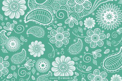 Fundo floral paisley de mão desenhada