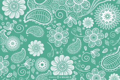 Hand drawn paisley floral background