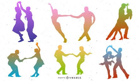 Silhueta de dançarinos coloridos