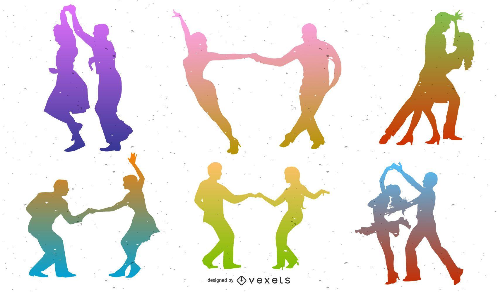 Conjunto de silueta de bailarines coloridos