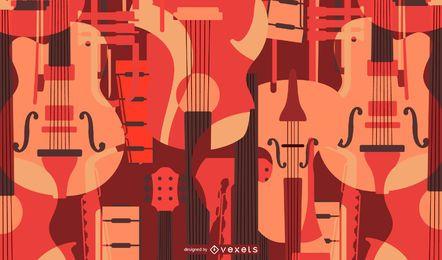 Fondo de instrumentos musicales de cuerda plana