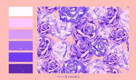 Diseño de patrón floral con paleta de colores.