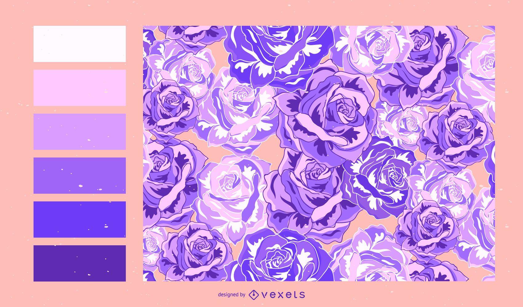 Floral pattern design with color palette