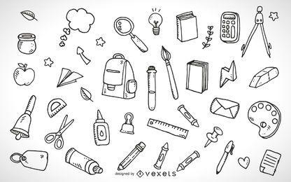 Esboço dos elementos do material escolar