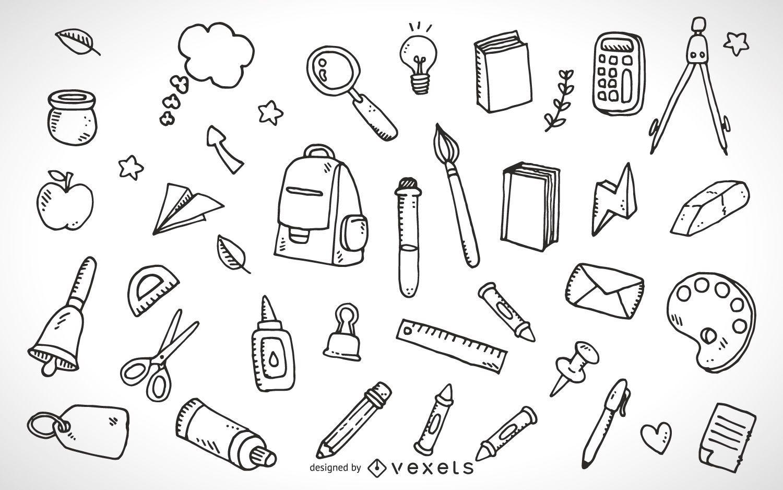 School supplies elements outline