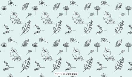 Dibujado a mano doddle pájaro wallpaper