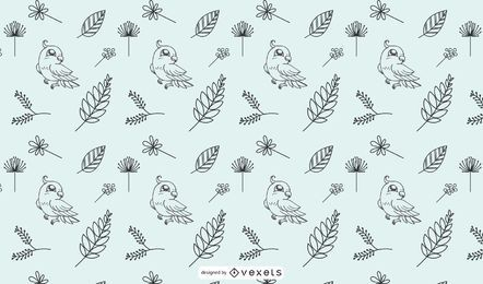Hand-drawn bird doddle wallpaper