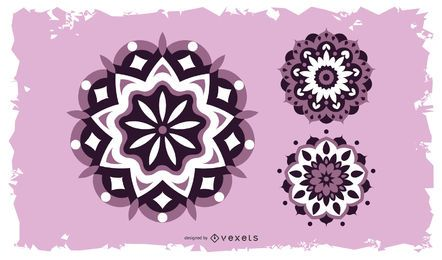 Diseño de mandalas florales coloridos