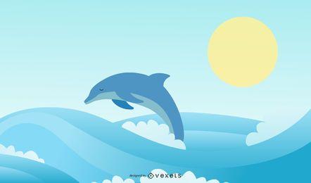 Summer Dolphin Illustration Design
