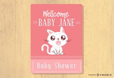 Invitación del gato de la ducha del bebé