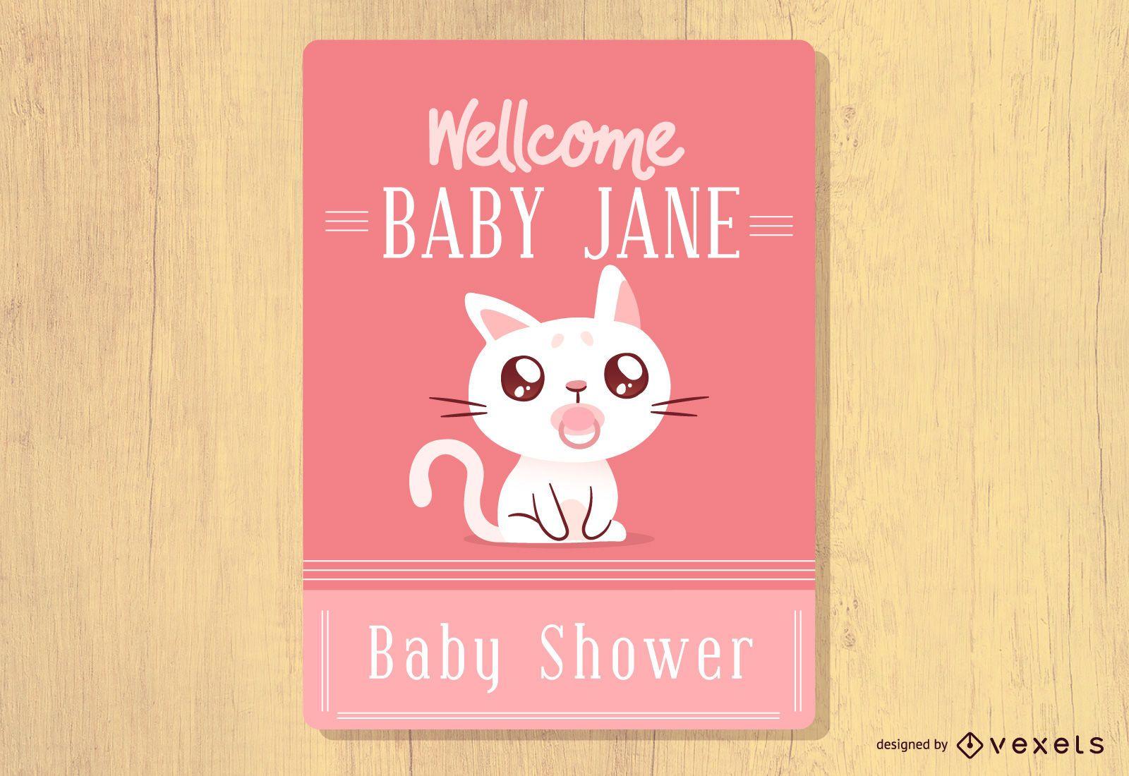 Baby Shower Cat Design
