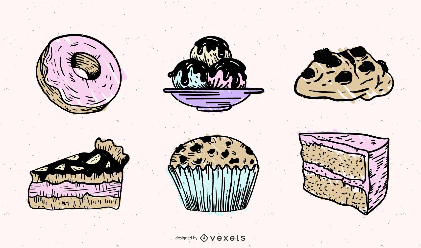 Paquete de ilustración de elementos de pastelería dulce