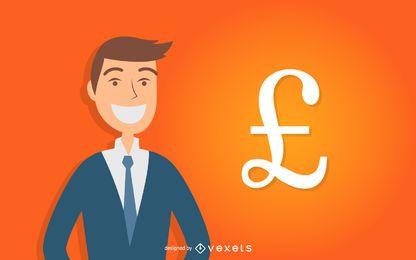 O homem de negócios ao longo da libra britânica