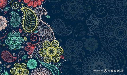Paisley-Hintergrund mit Silhouetten