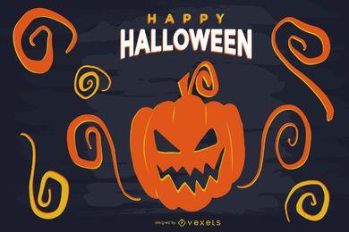Schrecklicher Halloween-geschnitzter Kürbis