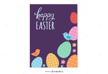 Cartaz de Páscoa com ovos e pássaros