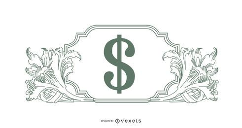 Illustrated ornaments with money sign