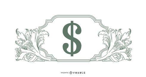 Ornamentos ilustrados com sinal de dinheiro