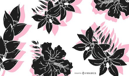 Delicate flowers silhouettes background