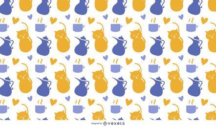 Patrón de gato y té