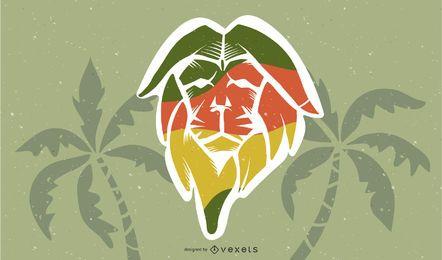 Diseño de ilustración de león de reggae